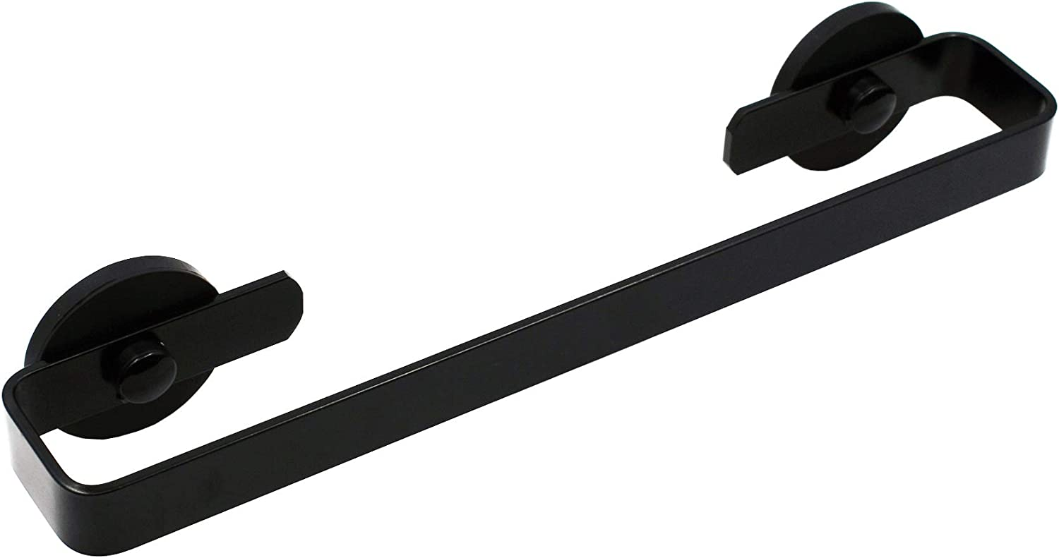 YYST Magnetic Towel Bar Towel Holder Towel Rack Towel Hook Hangerfor Refrigerator Or Steel Metal Surface - Black (Black, 1)