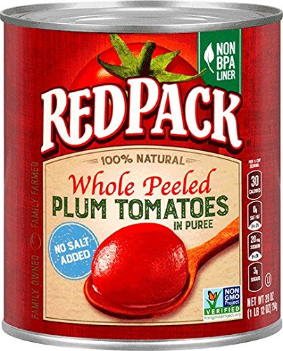 Redpack No Salt Added Whole Peeled Plum Tomatoes in Puree, 28oz Can (Pack of - Plum And Gold
