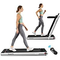 GoPlus 2-in-1 Folding Treadmill with Bluetooth Speaker and Remote Control (Silver)