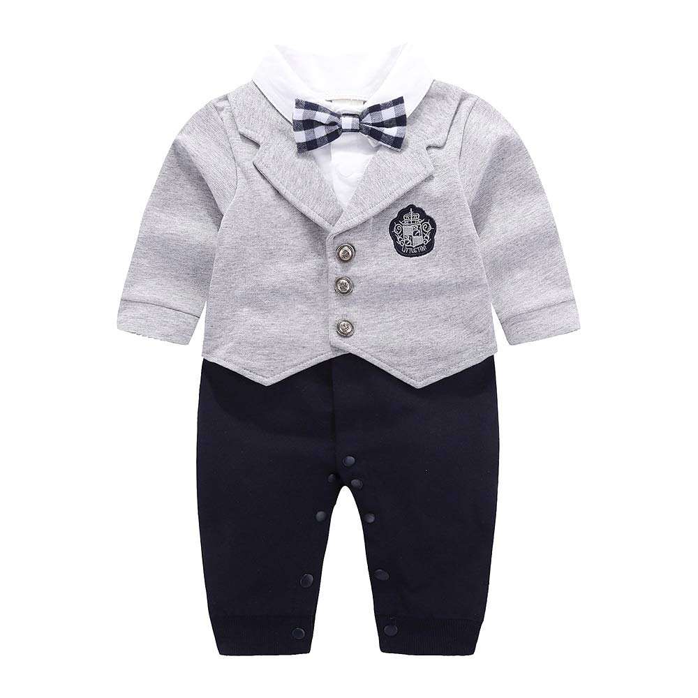 YANN Baby Boy Gentleman Suit Newborn Toddler Long Sleeves Rompers Jumpsuit Outfit Set with Bow tie