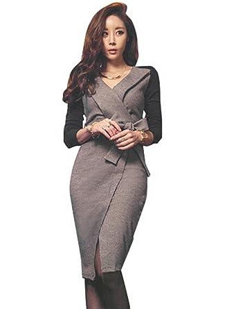 ea5571ef28e40 パーティー ドレス 韓国ファッション レディース トレンド イベント パーティー ドレス ワンピース 長袖 七分袖 膝丈