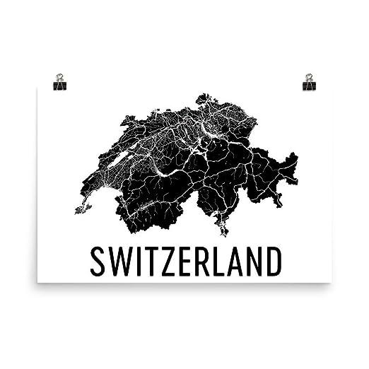 Modern Map Art la Tarjeta de Suiza, Tarjeta Suiza, Swiss Art ...