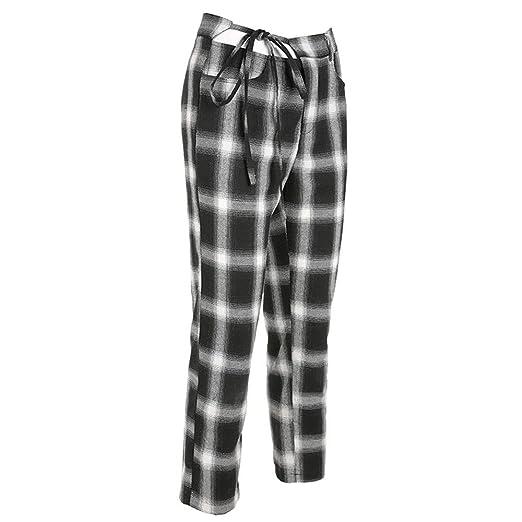 Pantalones de chándal Las mujeres mediados de cintura a cuadros ...