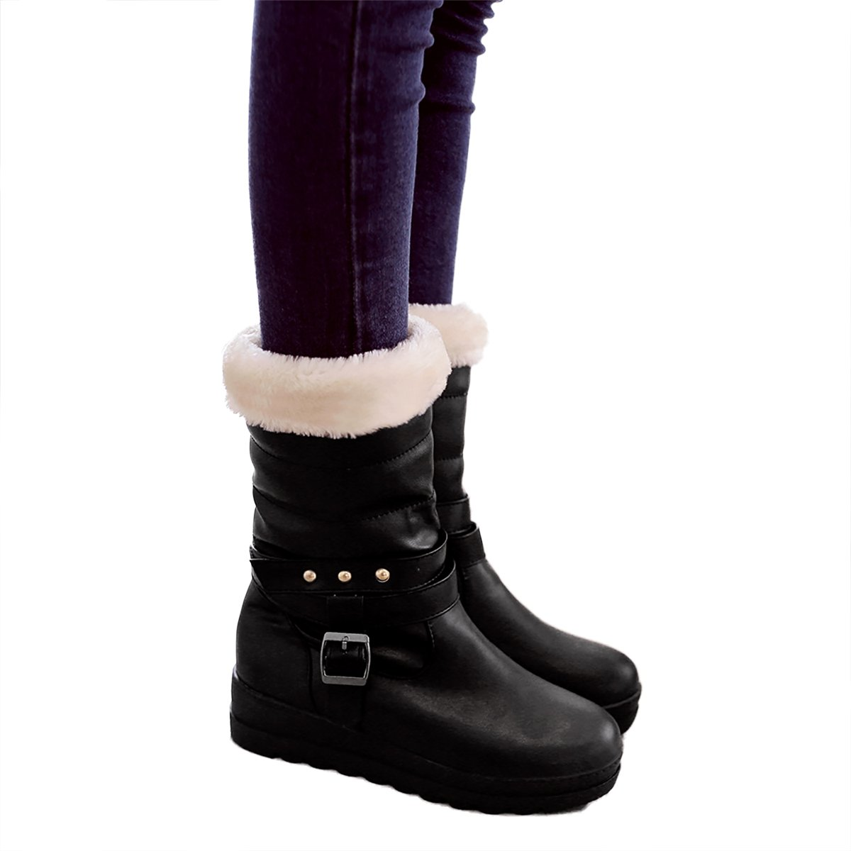 Inornever Waterproof Winter Boots Mid Calf Fleece Thick Fleece Calf Lined Warm Outdoor PU Low Heel Platform Snow Boots B077X8LD76 Snow Boots 55f685
