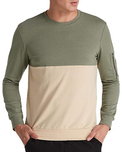 MODCHOK Herren Pullover Sweatshirt Patchwork Langarmshirt Sweater Tops  Reißverschluss Pocket  Amazon.de  Bekleidung f5ff0f58f2
