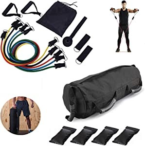 Aophire Fit Sandbags for Fitness with 4 Removable Filler Bags, and Home Gym Exercise Resistance Band Set with Handles