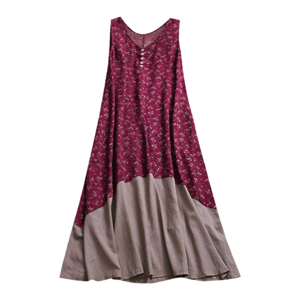 badb7136294d02 Retro Womens Boho Casual Cotton Linen Midi Dresses Vintage Loose V Neck  Button Down Sleeveless A Line Dress Plus Size Floral Kaftan  Amazon.co.uk   Clothing