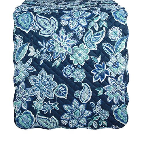 - Waverly Charismatic Blue Floral Quilted Fabric Table Runner, 70