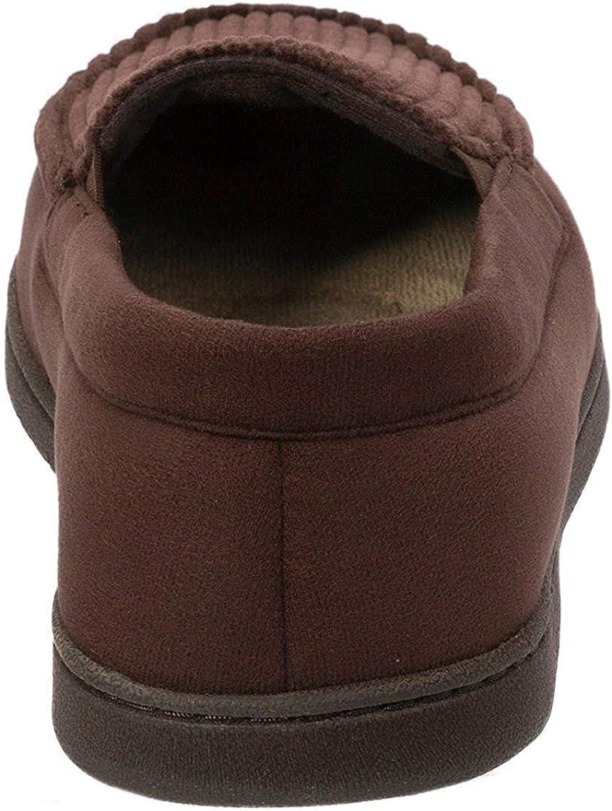 Dearfoams Men/'s Corduroy Moccasins Memory Foam Slippers Large//11-12, Coffee