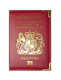 UK and European Passport Holder Protector Cover Wallet PU Leather United Kingdom - Black