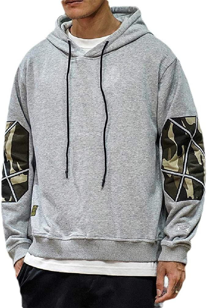 Doufine Mens Athletic Loose Hoode Plus Size Patched Relaxed Outwear Sweatshirts