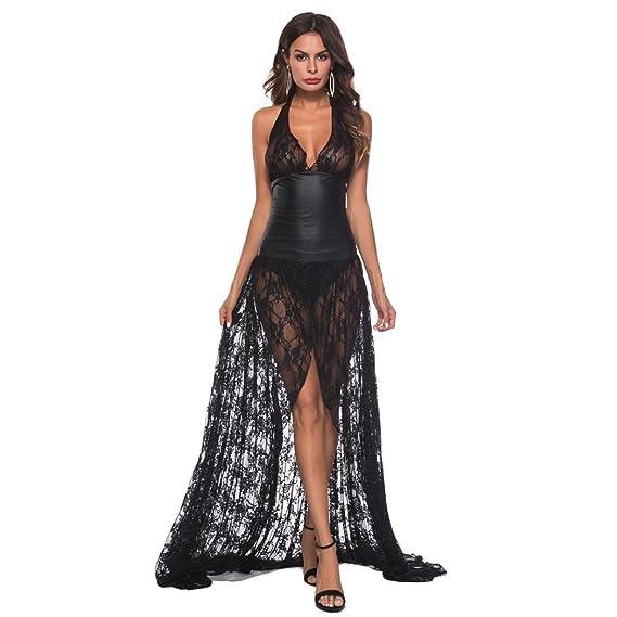 DOGZI Lencería Mujer Tallas Grandes Cuero Artificial Vestido Largo Ropa Interior Bodysuit Cordón Lencería Escotado por