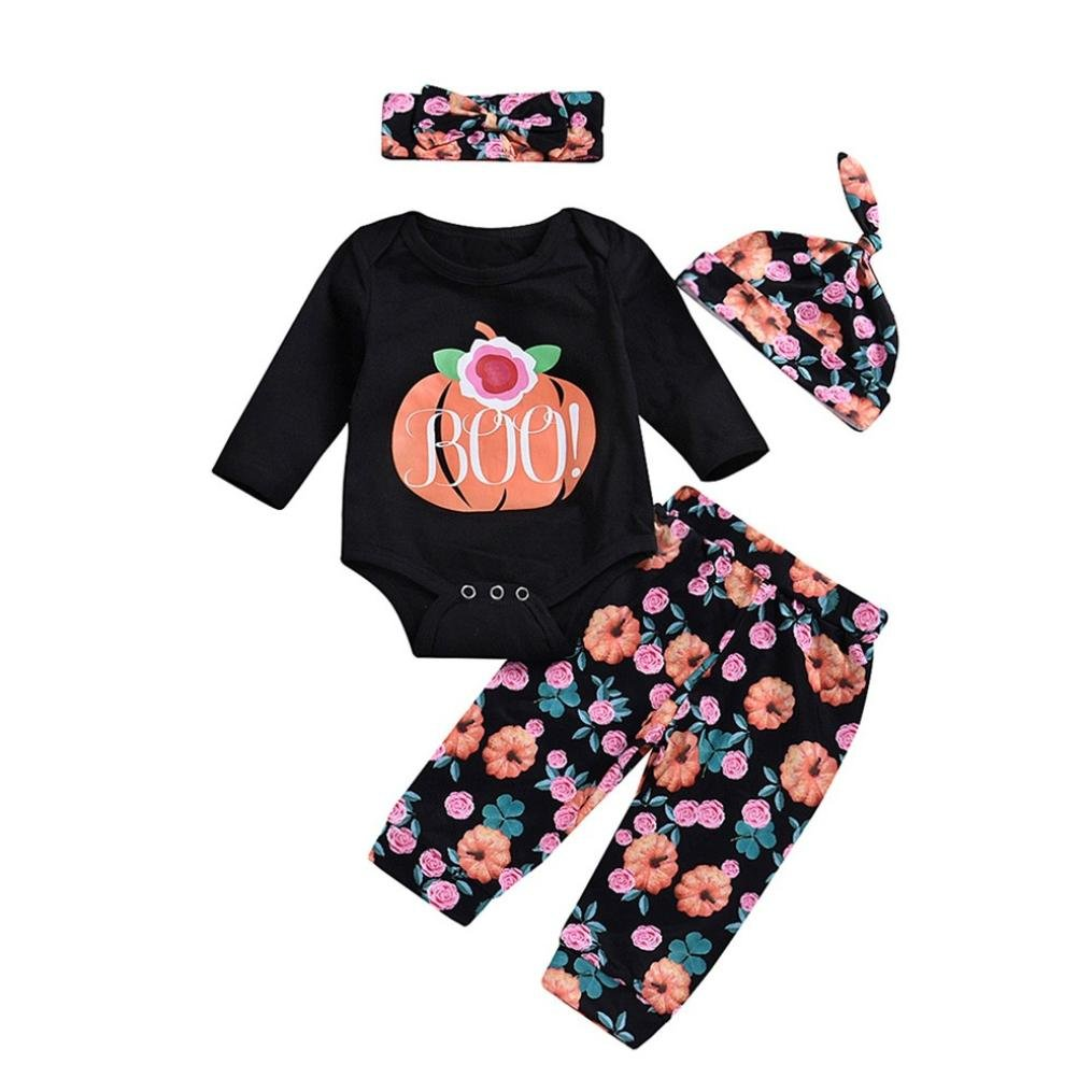 Clearance Sale! Baby Clothes Halloween, Iuhan 4Pcs Infant Baby Girls Boys Pumpkin Romper +Floral Pants + Cap + Headband Halloween Outfits Set (18Months, Black) Iuhan ®