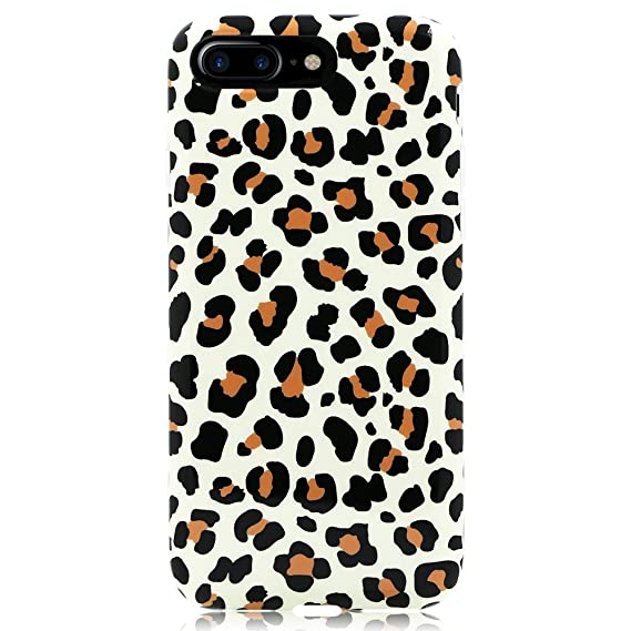 best loved 5a7f4 bea06 GoldSwift Flexible Soft Rubber Gel Case for iPhone 8 Plus, iPhone 7 Plus,  iPhone 6S Plus and iPhone 6 Plus (Brown Leopard Print)