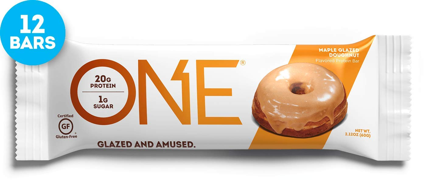 ONE Protein Bars, Maple Glazed Doughnut, Gluten Free Protein Bars with 20g Protein and only 1g Sugar, Guilt-Free Snacking for High Protein Diets, 2.12 oz (12 Pack) by ONE