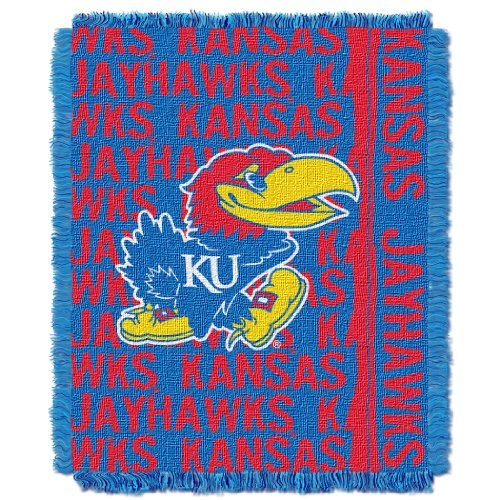The Northwest Company Officially Licensed NCAA Kansas Jayhawks Double Play Jacquard Throw Blanket, 48