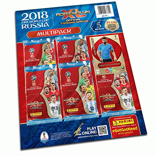 """Panini 2018 WORLD CUP RUSSIA""""Adrenalyn"""" Soccer Cards MULTIPACK. Includes five 9-card packs of cards (45 cards..."""