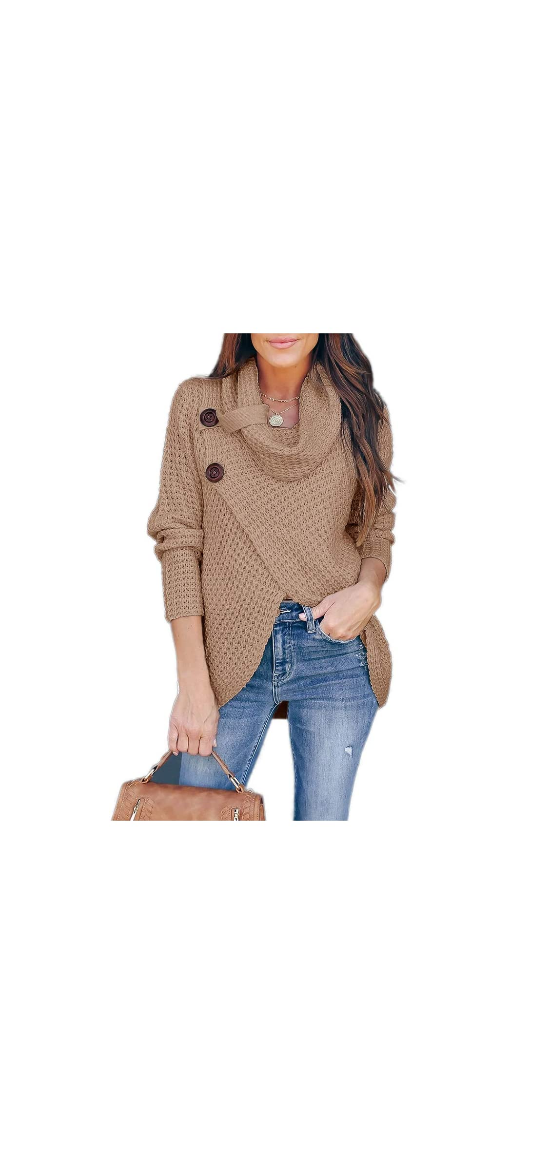 Womens Sweaters Casual Cowl Neck Chunky Cable Knit Wrap