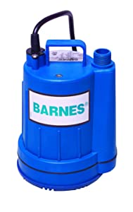 Barnes 113824 Model UT17 Submersible Sump and Utility Pump, 1/6 hp, 120V, 1 Phase, 3/4