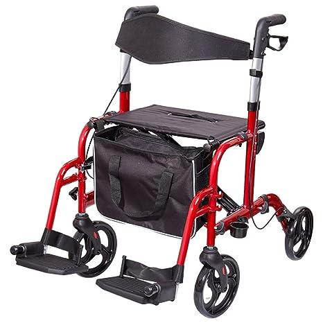 Andador con Ruedas Ajustable con Asiento para Ancianos ...