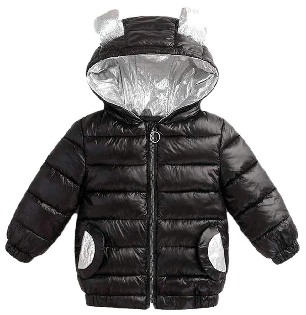 Cromoncent Boys Hooded Zip Quilted Pocket Padded 休闲羽绒 Jacket Parka Coat Black 4T