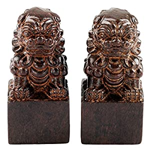 SUNYIK Chinese Guardian Lions Statue Wood Carved Figurine Decor Home Guardian Pack of 2