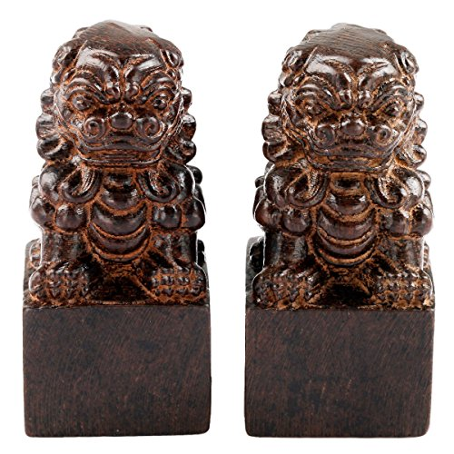 SUNYIK Chinese Guardian Lions Statue Wood Carved Figurine Decor Home Guardian Pack of 2 - Lion Statues Chinese
