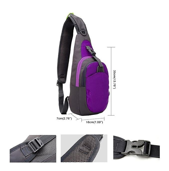 Laat - Mochila outdoor multifuncional impermeable de nylon, bolsa bandolera triángulo para hombres y mujeres, para camping, senderismo o viaje, ...