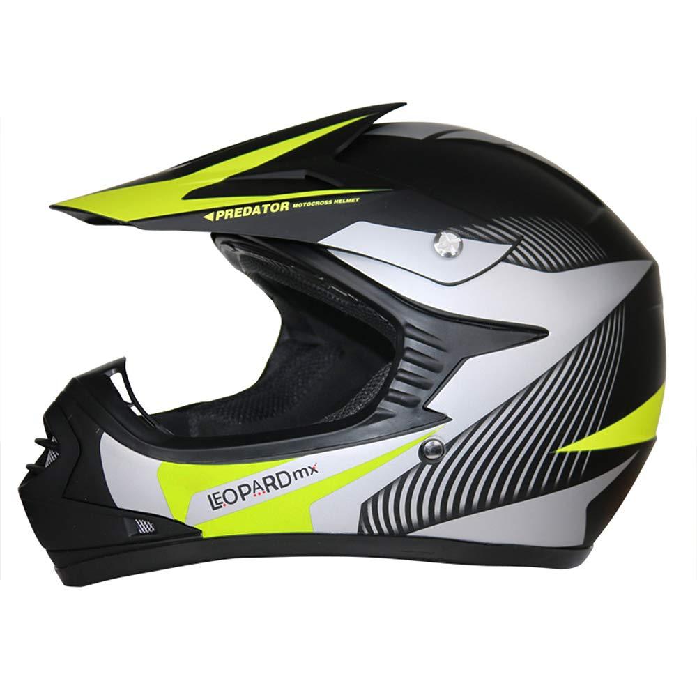 Leopard LEO-X19 Casco de Motocross para Ni/ños Azul L y Guantes y L 7cm 53-54cm Gafas ECE Homologado