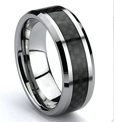 Mens Womens Tungsten Carbide Wedding Band Ring with Black