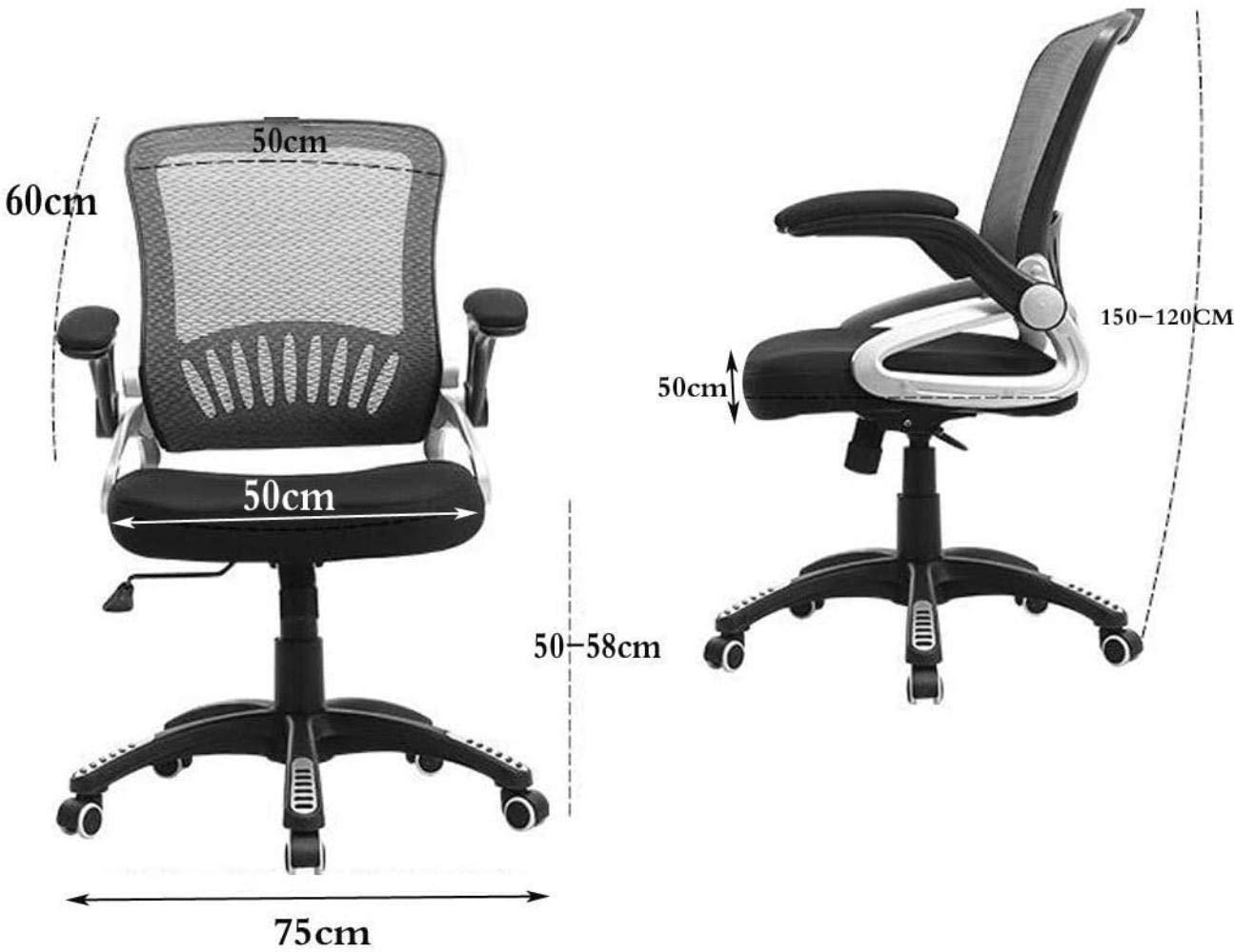 Skrivbordsstolar, ergonomisk kontorsstol nät datorstol lyft konferensstol hem svängbar stol justerbar fåtölj (färg: svart) BLÅ