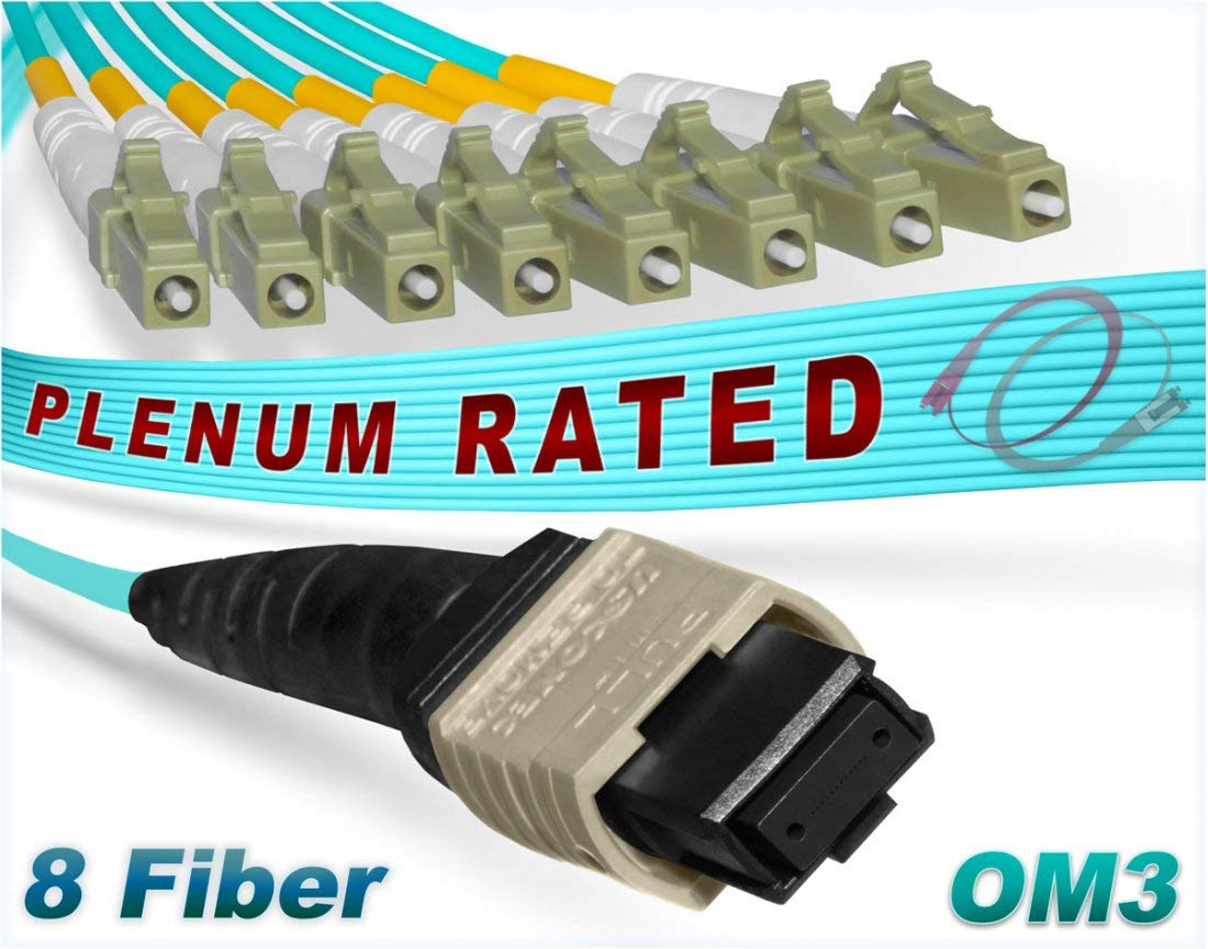 FiberCablesDirect - 0.5M OM3 MPO LCx8 Multi-Fiber Breakout Cable | 10Gb 8-Fiber 50/125 MTP/MPO 8xLC Multimode Cable 0.5 Meter (1.64ft) | Length Options: 0.5M-300M | 10/40g sfp+ 10gbase ofnp 8f MTP-lc