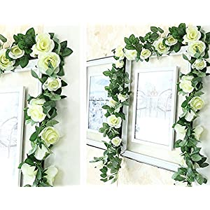 Greentime 2 Pcs Fake Flowers Vine 7.8 FT 16 Heads Silk Artificial Roses Garland Plant for Wreath Wedding Party Home Garden Wall Decoration, Cream 2