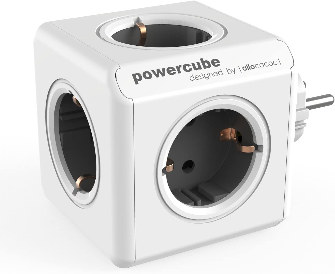Allocacoc 1100GY/DEORPC PowerCube Original - Regleta de 5 tomas de corriente, Color Gris, 250 V, Oscuro