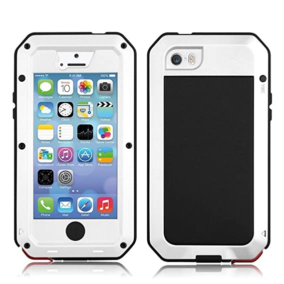 new concept 5aec7 54296 iPhone 5 Case, iPhone 5S Case, Amever Waterproof Shockproof Dust/Dirt Proof  Aluminum Metal Military Heavy Duty Protection with Tempered Glass Screen ...