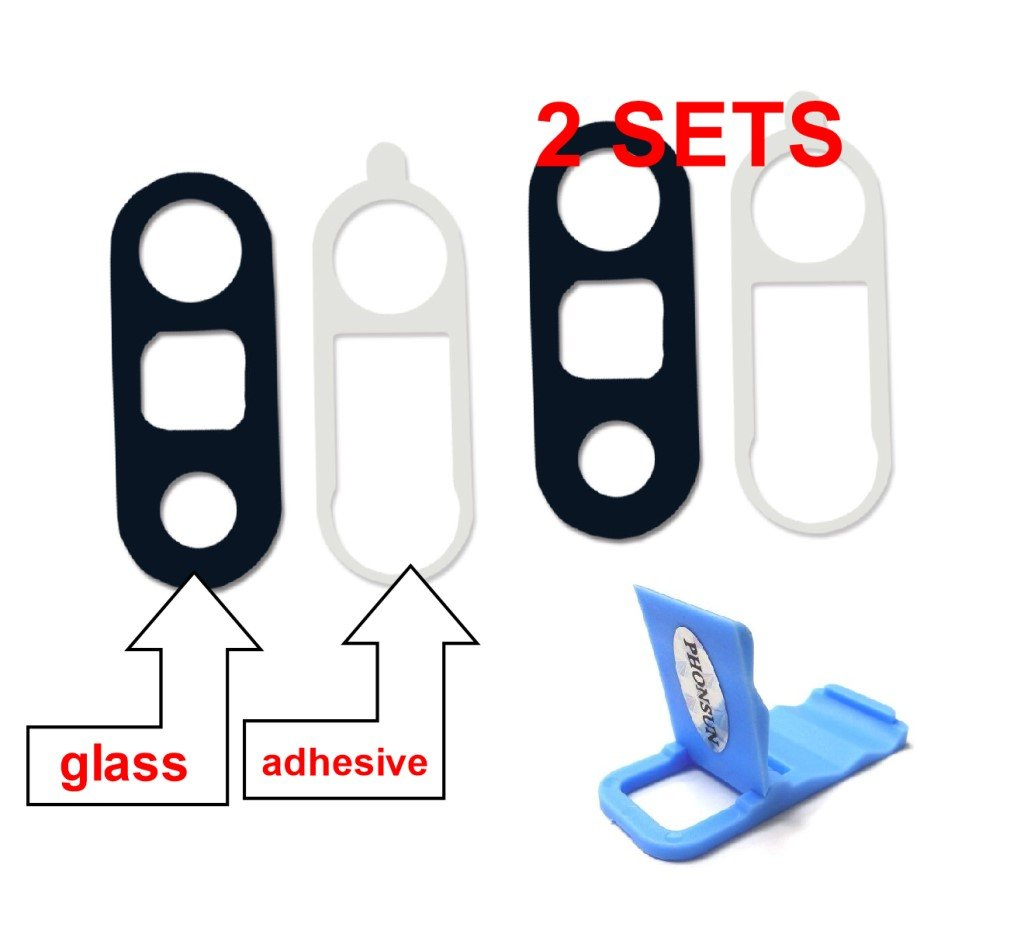 2 Pack Back Rear Camera Lens REAL Glass Cover Replacement with Adhesive for LG G5 H820 H830 H850 VS987 LS992 Black + PHONSUN Portable Cellphone Holder