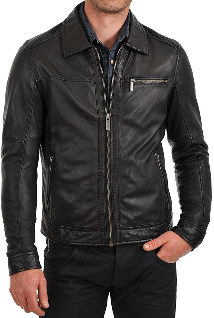 New Mens Leather Soft Lambskin Motorcycle Bomber Party Jacket LF860