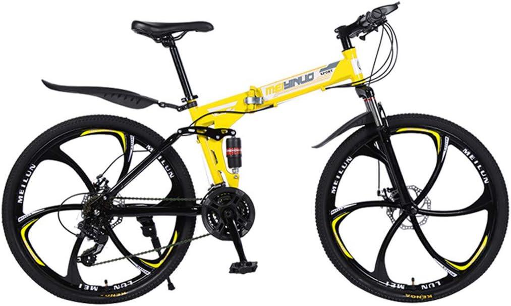 26in Adult Folding Mountain Bike,21 Speed High-Carbon Steel Urban Track Bike,Disc Brake Full Suspension Frame Bicycles Road Bikes Mountain Bicycle Non-Slip Bike