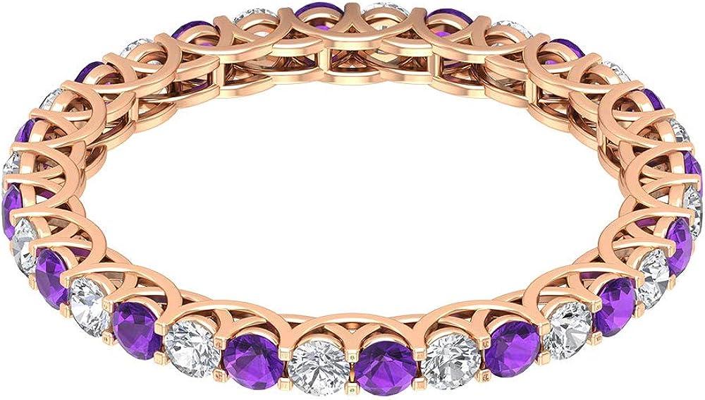 Anillo de eternidad completo de amatista certificado de 3/4 ct de 2 mm, anillo de promesa de novia de 1/2 ct de diamante, anillo de boda alterna, 18K Oro