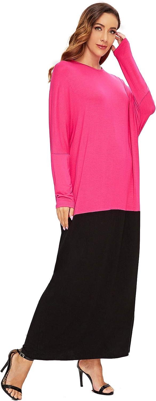 Verdusa Womens Color Block Batwing Long Sleeve Loose Oversized Maxi Dress