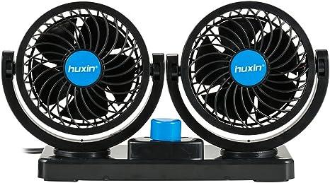 per Casa Ufficio Campeggio di Furgoni Queta Ventilatore per Auto rotazione manuale a 360 gradi Car Fan di 12V Accendisigari Spina
