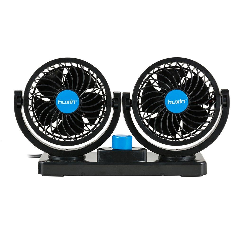 FREESOO Ventilatore per Auto Dobbia Testa 2 Volocità Raffreddamento ventola aria