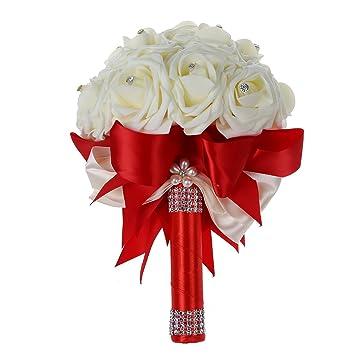 Toogoo R Belle Bouquet De Mariage De Mariee Demoiselle D Honneur Fleur Bouquet De Mariage Fleur Artificielle Bouquet De Roses Bouquets De Mariee