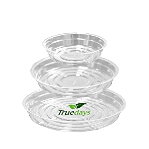 TRUEDAYS 15 Pack(6 inch/8inch/10inch) Clear Plant Saucers Flower Pot Tray Excellent for Indoor & Outdoor Plants