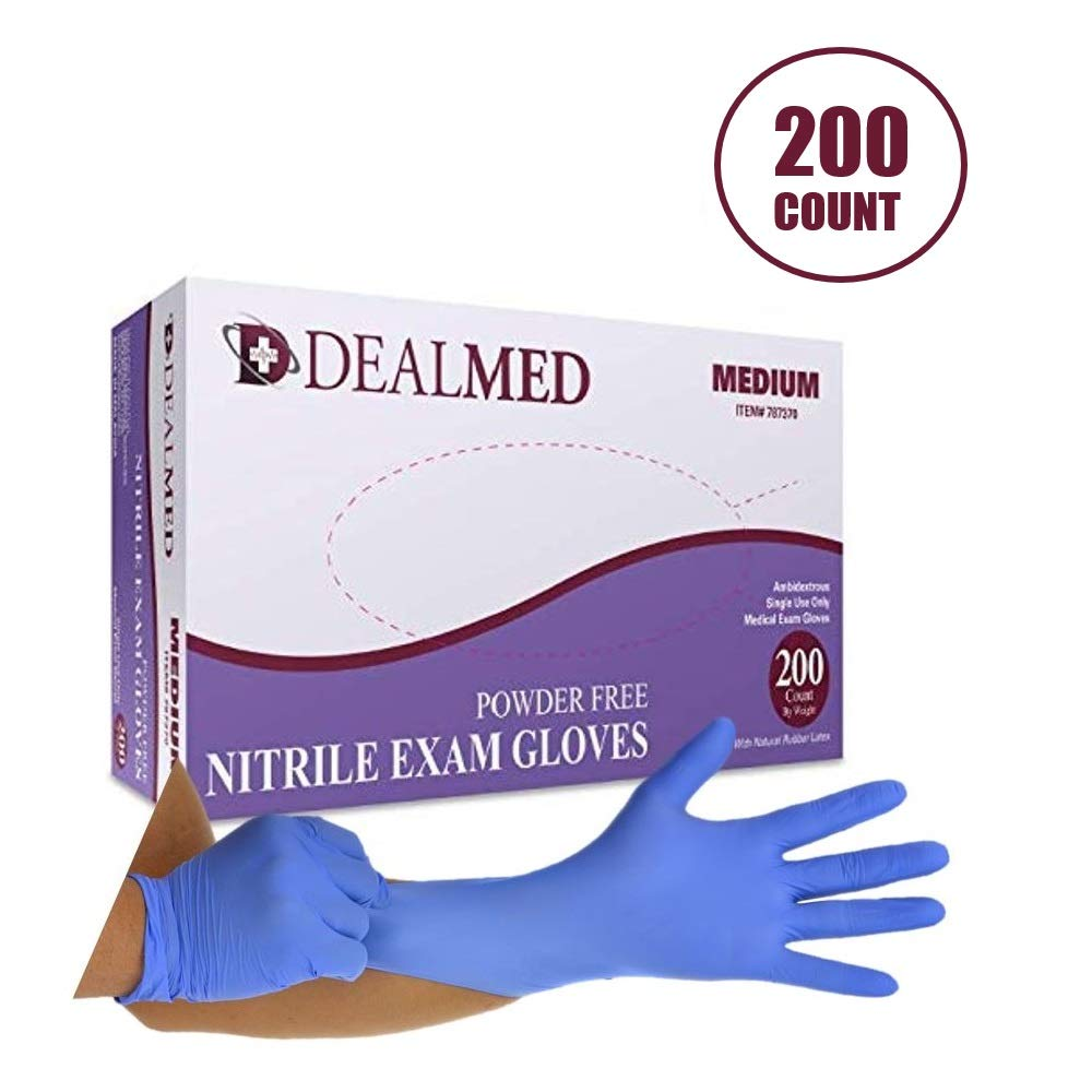 Dealmed Brand Nitrile Medical Grade Exam Gloves, Disposable, Latex-Free, 200 Count, Size Medium by Dealmed