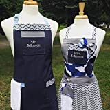Apron Set by The Bedford Life CUSTOM ORDER: Matching Adult His & Hers (Your set will be created once we agree upon color and overall design) The images in this listing are examples only