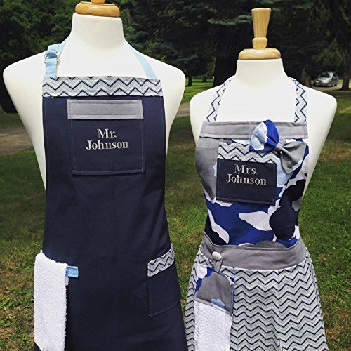Apron Set by The Bedford Life CUSTOM ORDER: Matching Adult His & Hers (Your set will be created once we agree upon color and overall design) The images in this listing are examples only by The Bedford Life