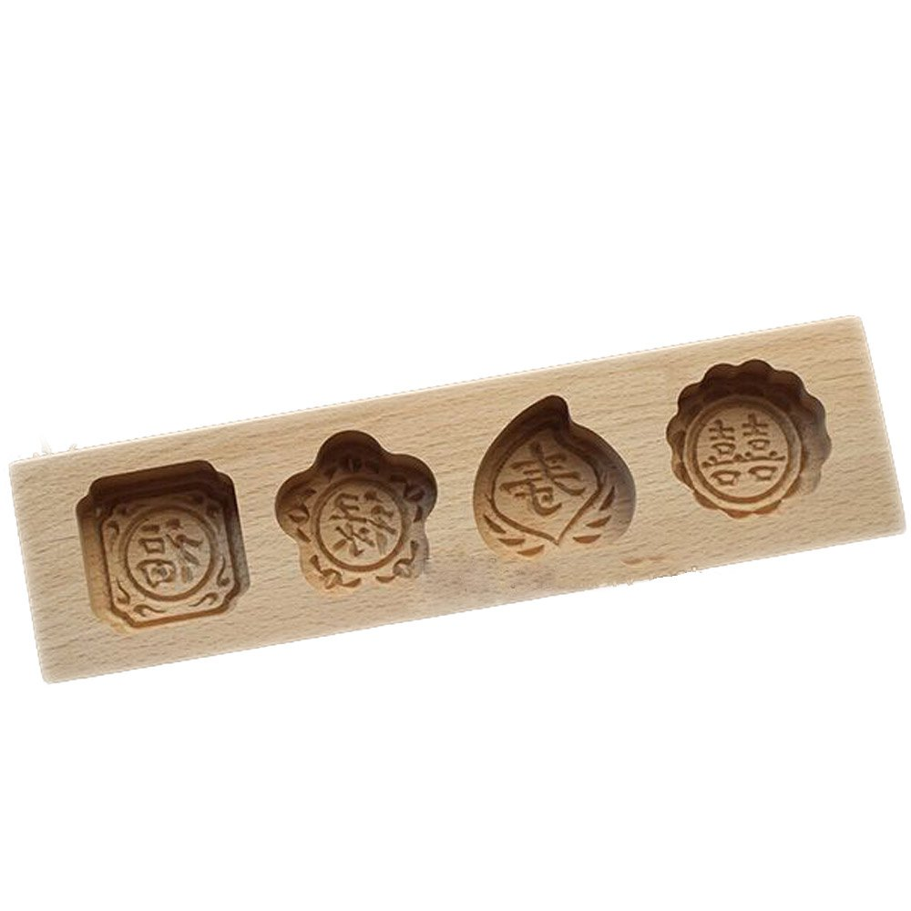 Hleeduo Wooden Moon Cake Steamed Pumpkin Pie Pasta Rice Cake Wooden Baking Mold (Four Mold 2) by SOGNIMIEI
