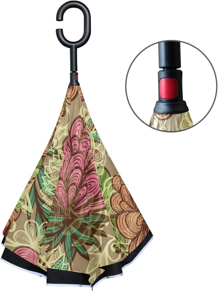 AHOMY Inverted Reverse Umbrella Rainforest Flower Windproof for Car Rain Outdoor