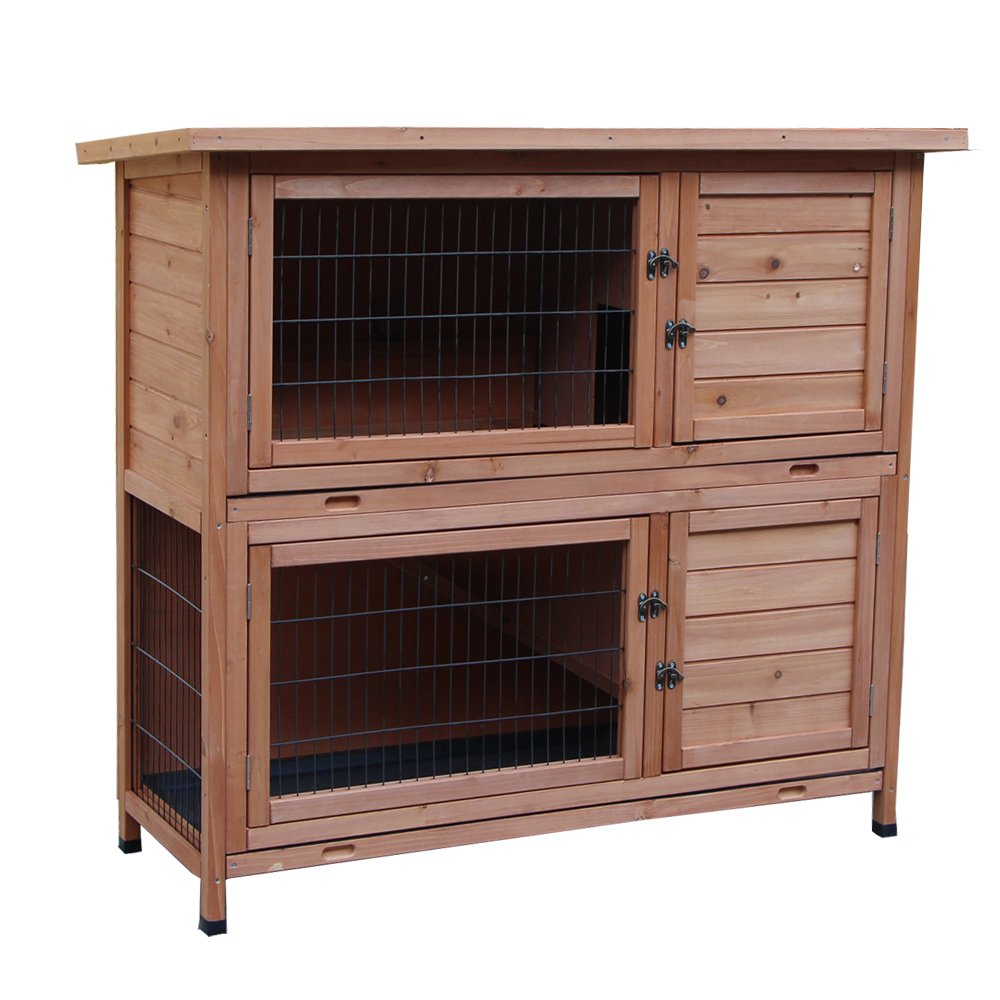 Yoshioe 48'' 2 Tiers Rabbit Bunny Dog Wooden Pet Hutch House with Waterproof Spacious Inner Room Lockable Doors for Small Animals, Durable Chicken Coops Chicken Cages Rabbit Cage